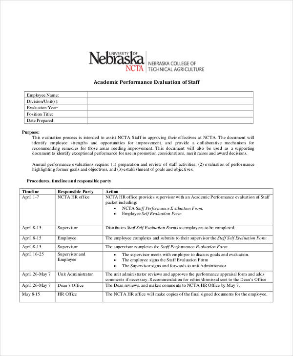 Employee Evaluation Form Uses Performance Appraisal And Standards