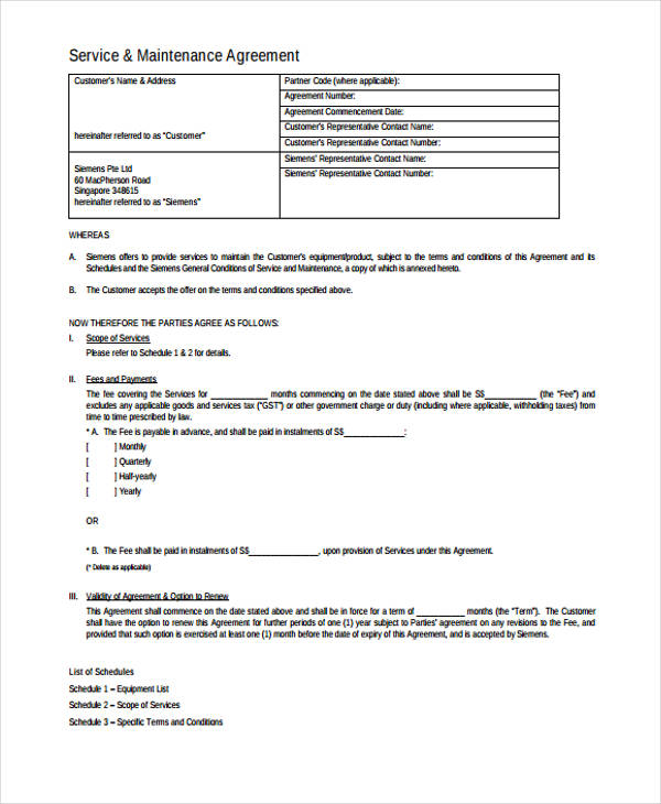 accessing service agreement form template