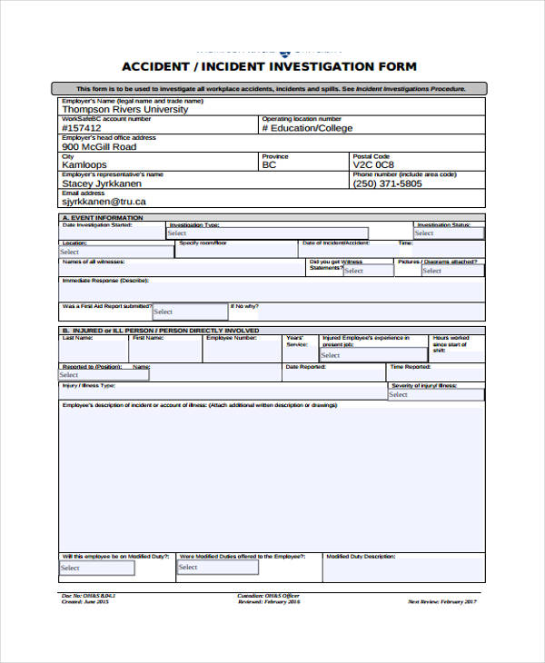 Incident report form example for Vehicle accident investigation form template