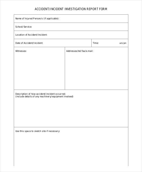 Free Incident Report Forms