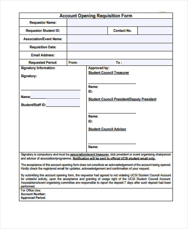 account opining requisition form