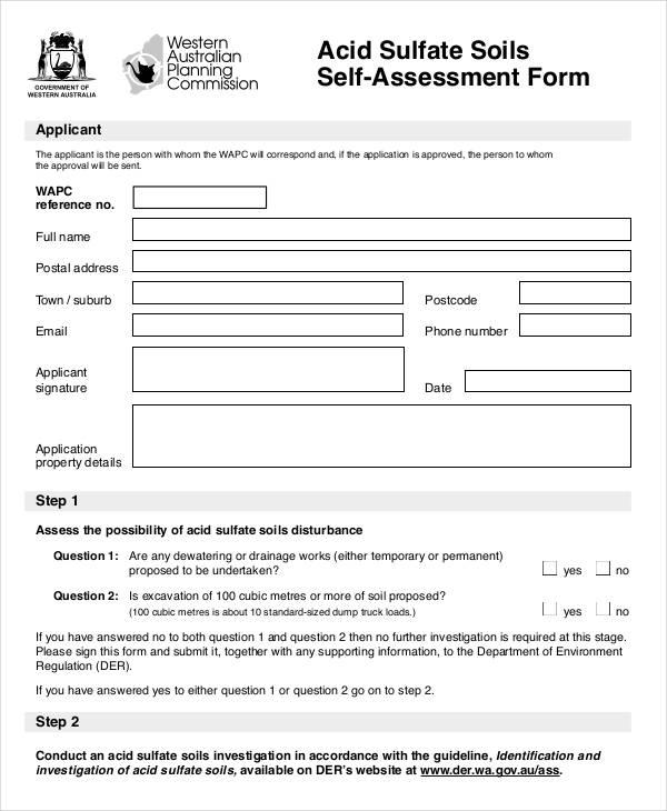 acid sulfate soils self assessment form