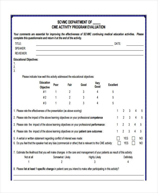 activity program evaluation form