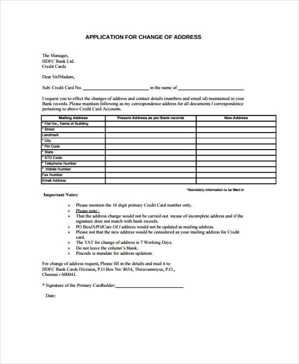 Address Change Application Form  Free Change Of Address Form