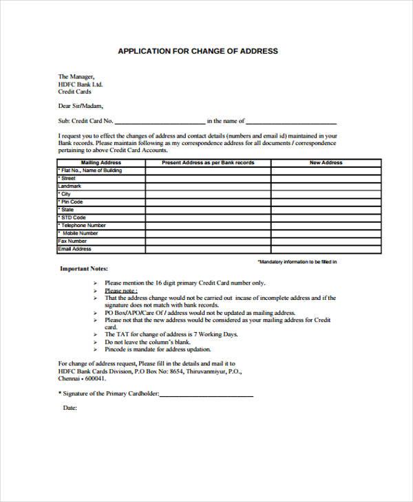 Address Change Application  Free Change Of Address