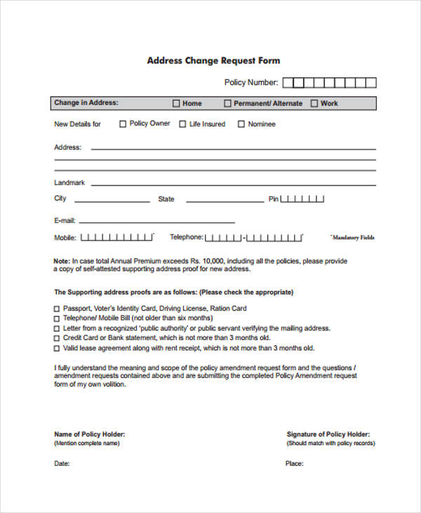 Change Request Form | Address Request Form Denmar Impulsar Co