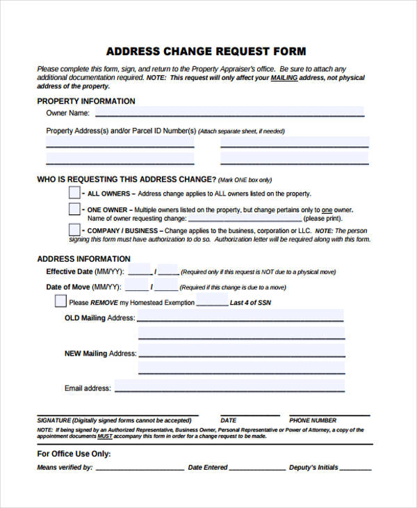 Address Change Request Form  Address Change Form Template