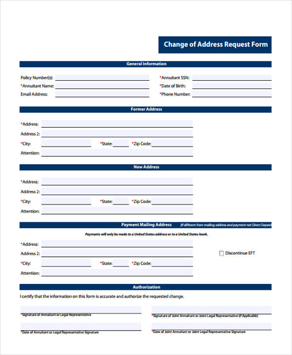 address request change form