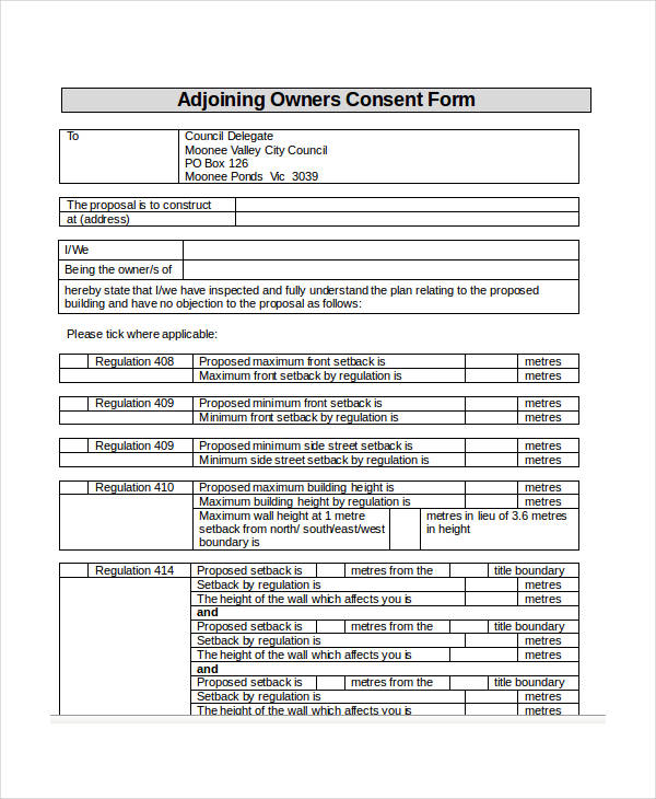 adjoining owners consent form