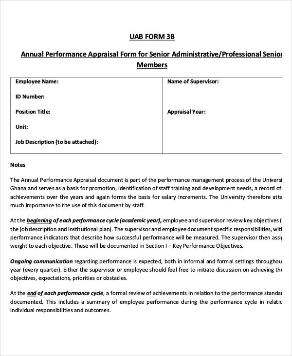 Annual Performance Appraisal Form  Free Sample Example Format