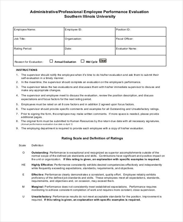 Supervisor Evaluation Template For Employee Evaluation Form