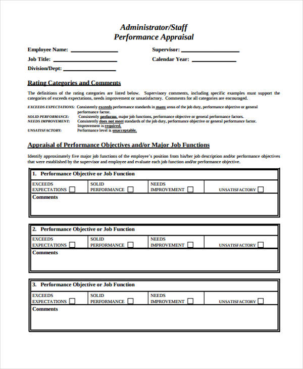 administrator staff performance appraisal form