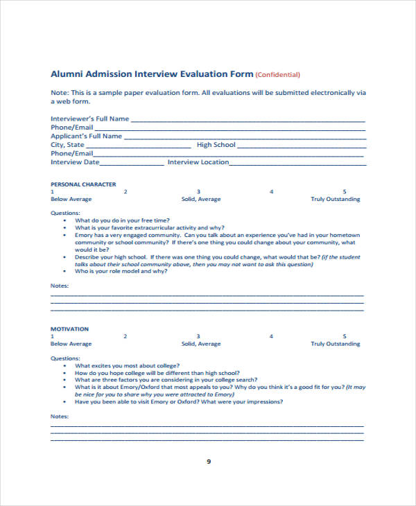 admission interview evaluation form example