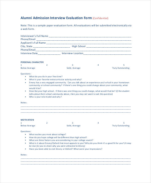 Admission Interview Evaluation Form