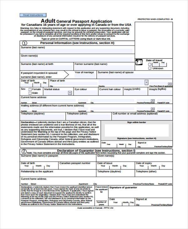 adult general application form