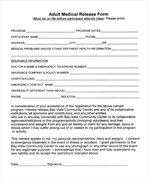 Adult Medical Release Form In Pdf
