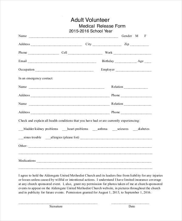 adult volunteer medical release form