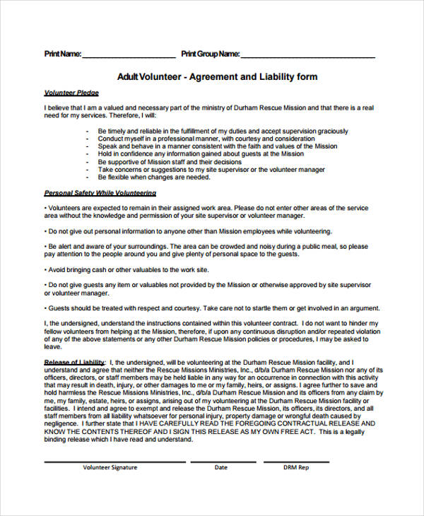 adult volunteer service agreement form1