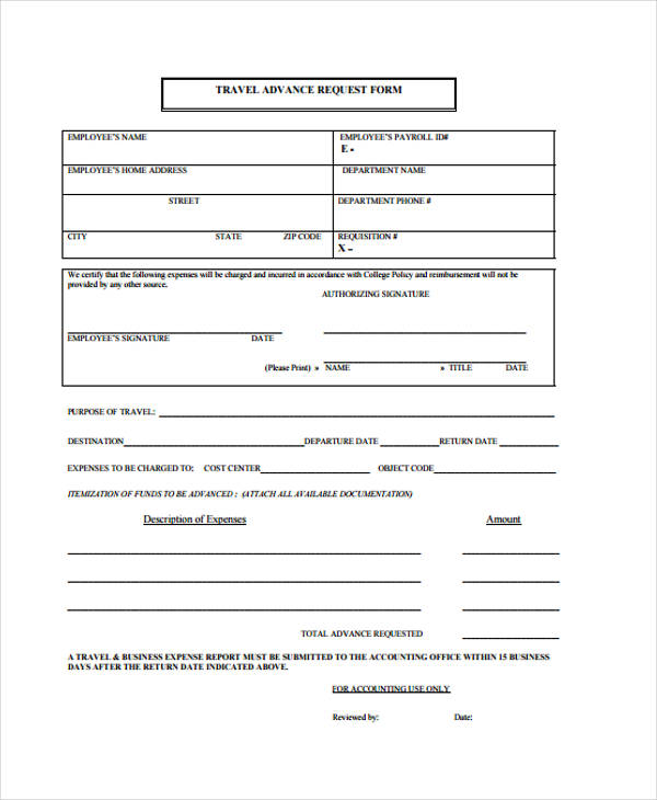 advance travel request form1