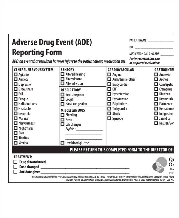 adverse drug event form