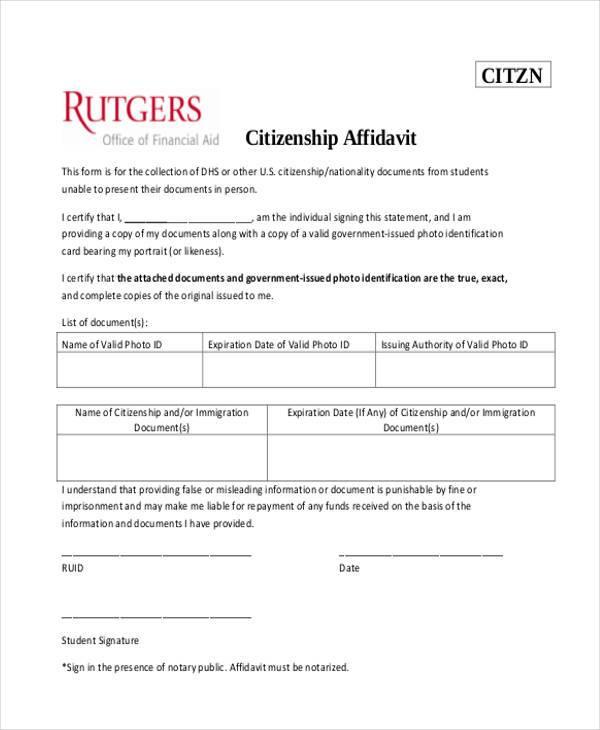 affidavit citizenship form