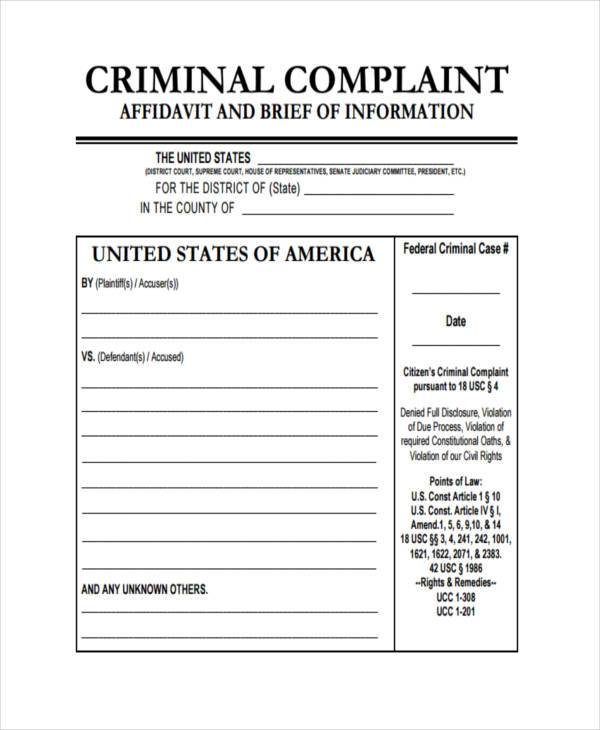 affidavit for criminal complaint form1