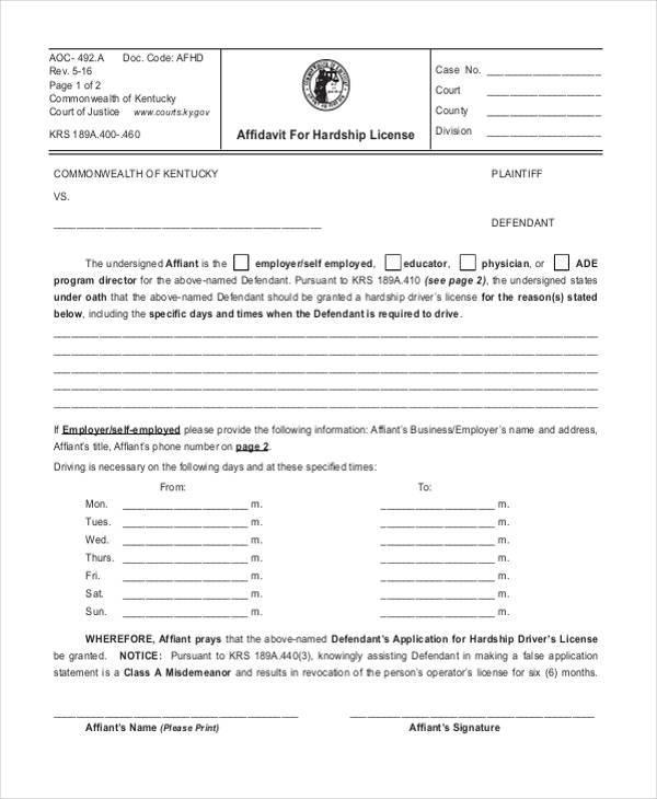 affidavit for hardship license