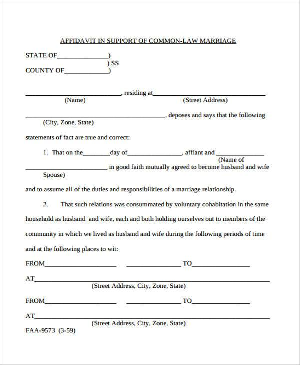 Good Faith Marriage Affidavit Letter Sample Pdf from images.sampleforms.com