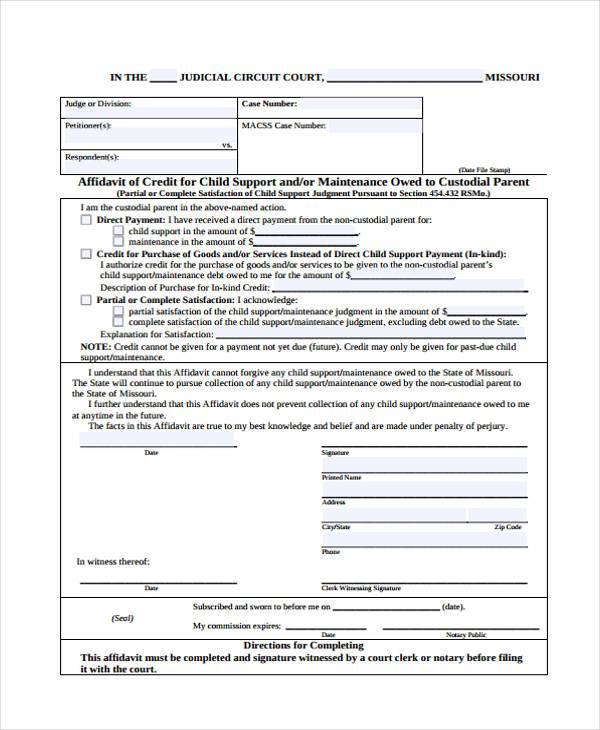 affidavit of child support form1