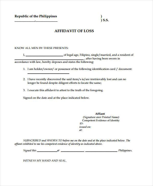 Blank Affidavit Of Loss Form  Blank Affidavit