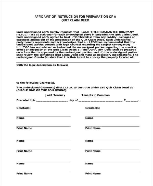 affidavit of quit claim form1