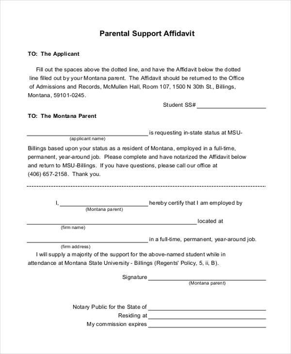 Affidavit Of Support Affidavit Of Support Ways To Write An
