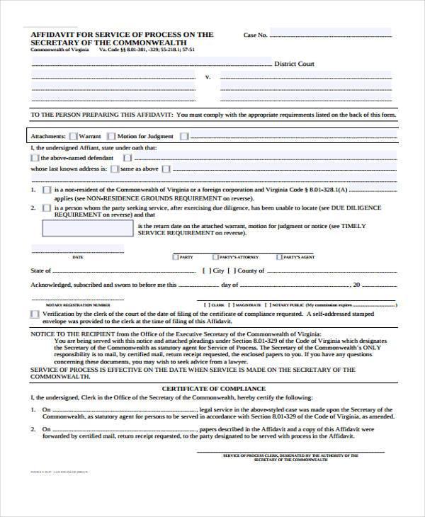 affidavit for service of process form