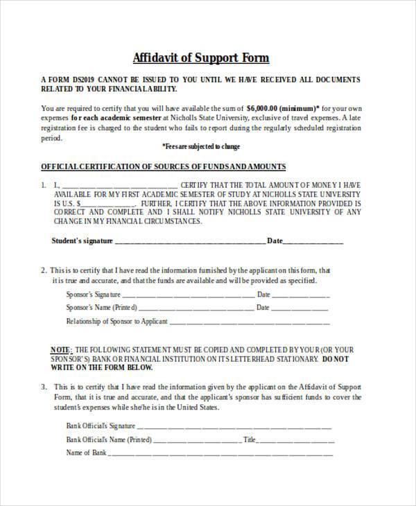 affidavit of support form sample