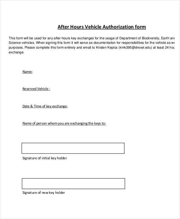 after hours vehicle authorization form