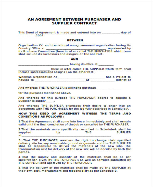 agreement for purchase contract