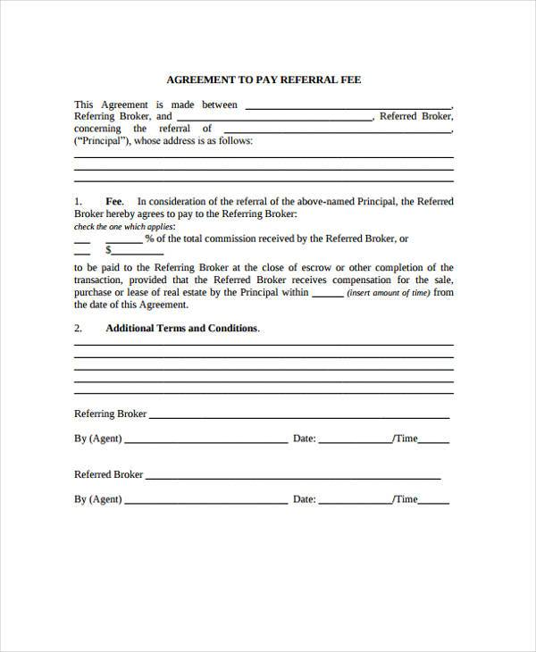 agreement to pay referral fee contract form