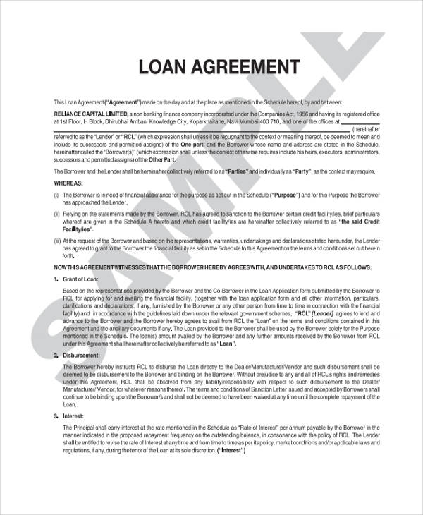 agriculture loan agreement sample