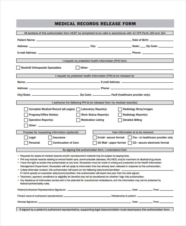 air force medical records release form - Sample Medical Records Release Form