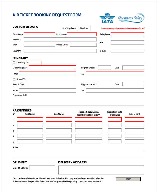 Travel request form example air ticket travel booking request form thecheapjerseys Choice Image