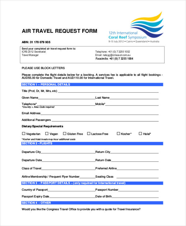 Sample travel request form air travel request form thecheapjerseys Choice Image