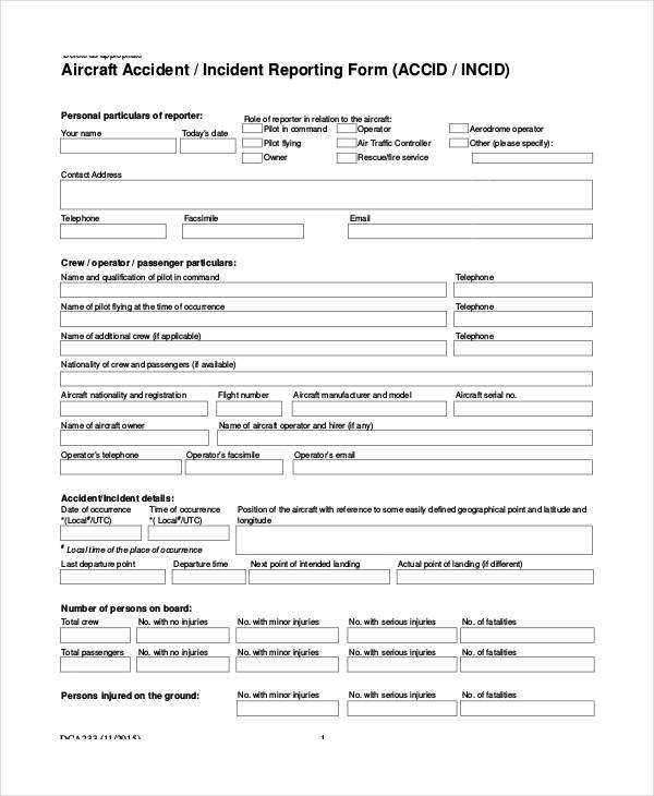 aircraft accident incident report form