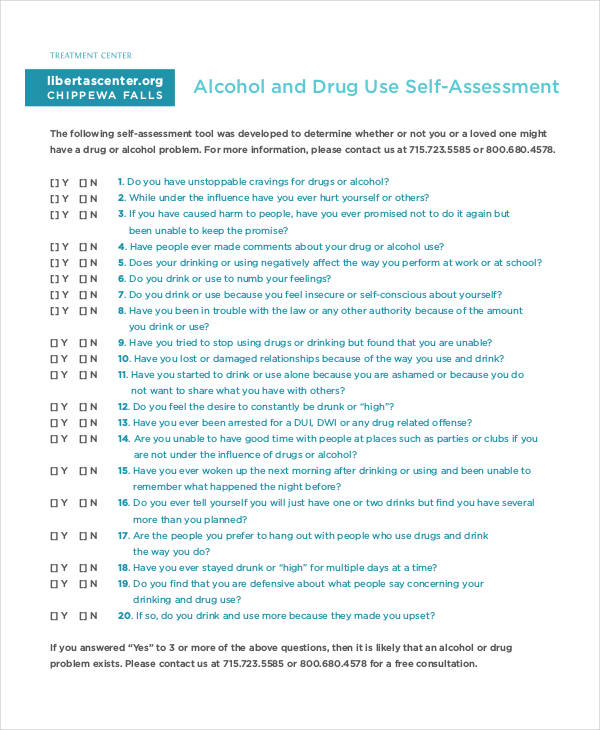 alcohol drug use self assessment form