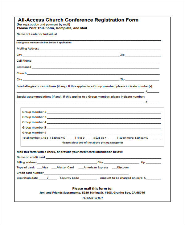 23 conference registration form templates for Sample workshop registration form template