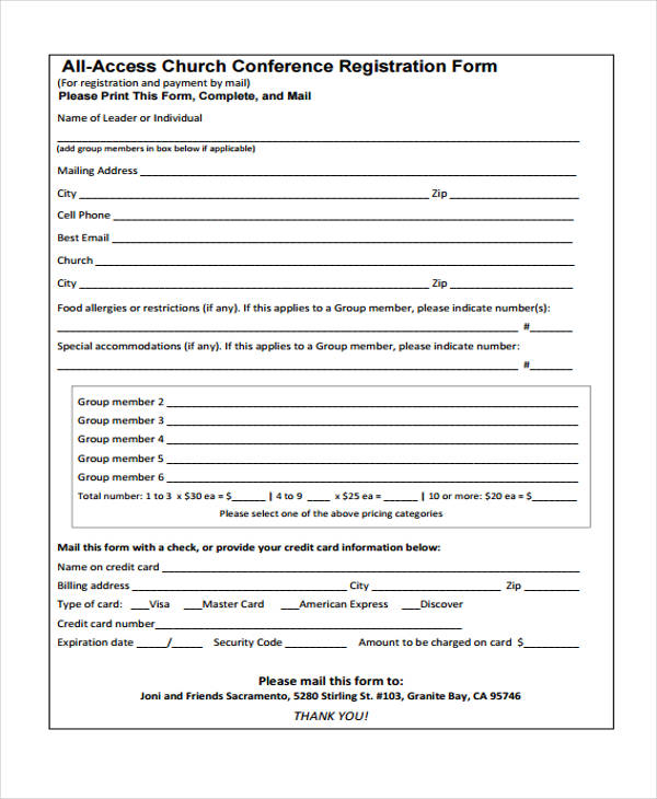 all access church conference registration form2