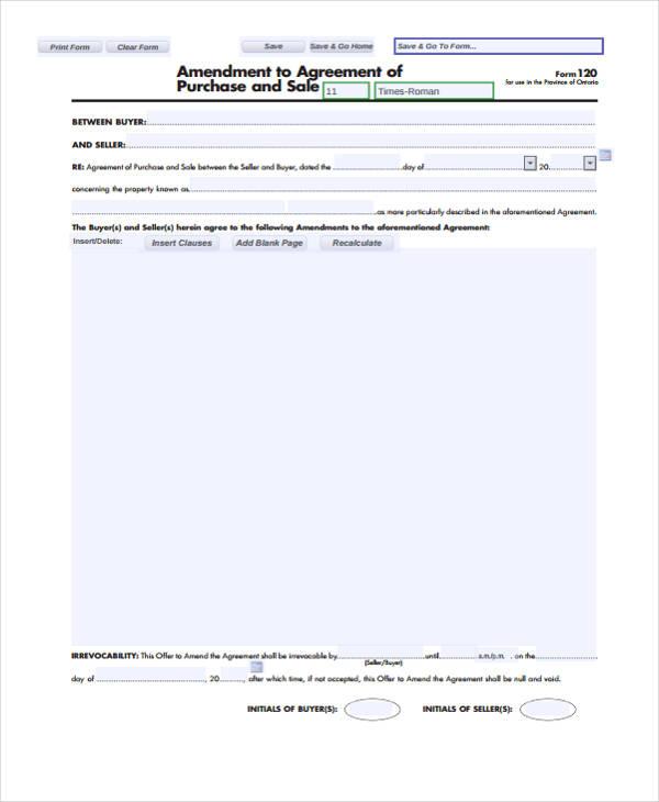 amendment agreement purchase sale form