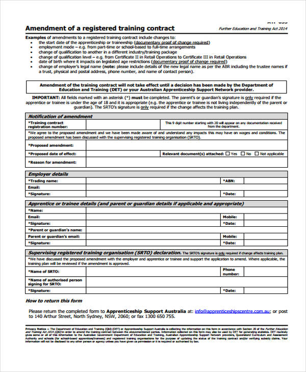 amendment training contract agreement form