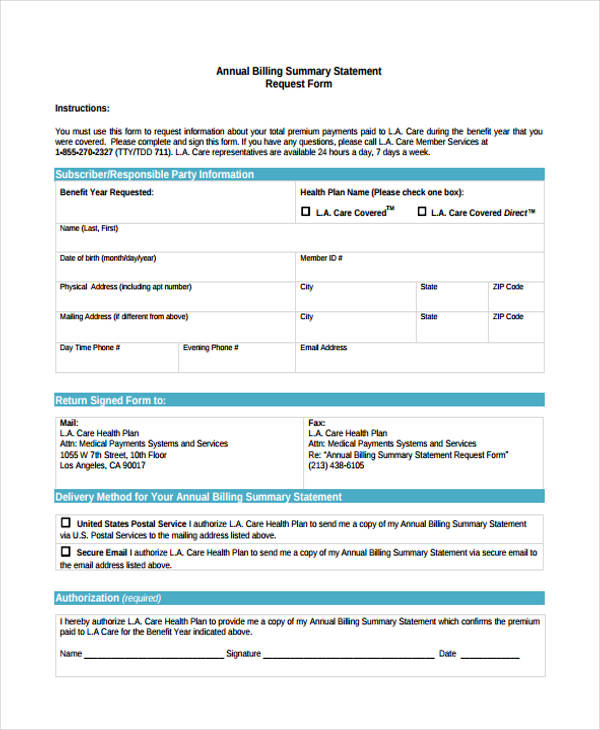 annual billing summary statement request form