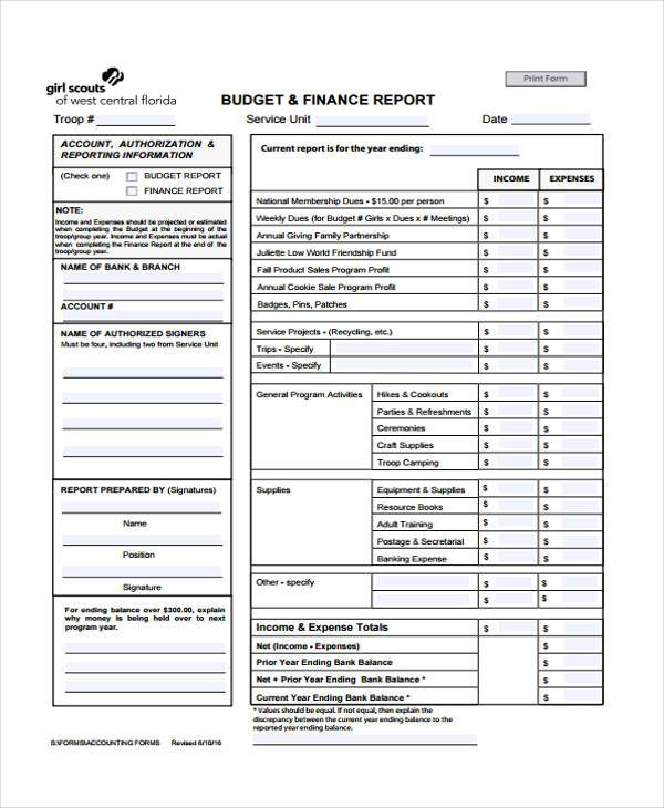 annual budget reporting form