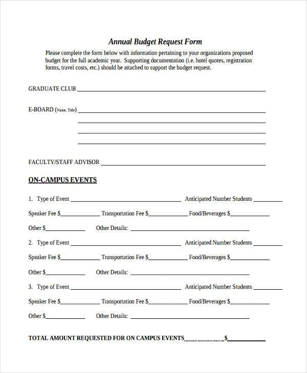 annual budget request form